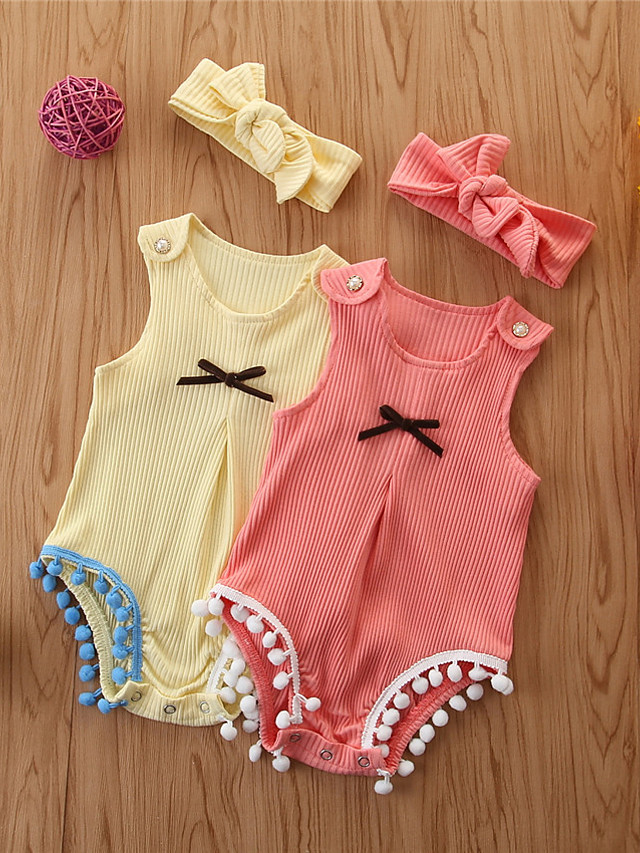 Baby Girls' Basic Solid Colored Sleeveless Romper Yellow
