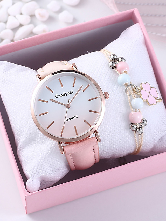 Women's Quartz Watches Quartz New Arrival Chronograph PU Leather Pink Analog - Blushing Pink One Year Battery Life