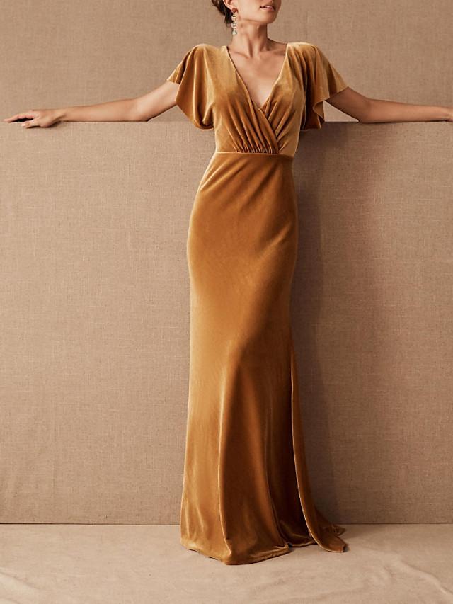 Sheath / Column Elegant Beautiful Back Party Wear Formal Evening Dress V Neck Short Sleeve Floor Length Velvet with Pleats 2020