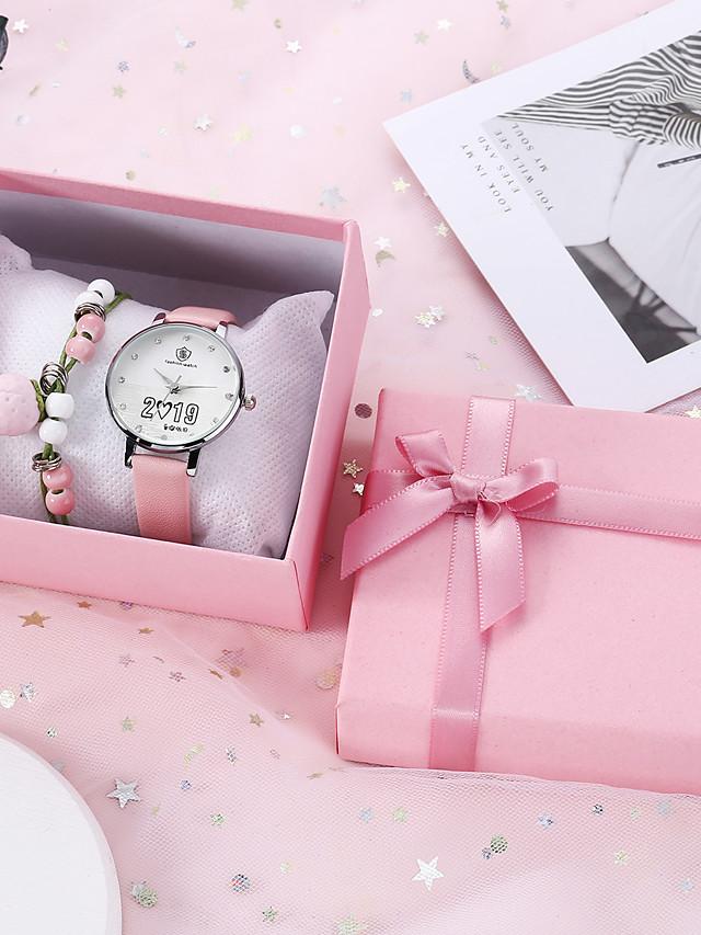 Women's Quartz Watches Quartz New Arrival Chronograph PU Leather White / Pink Analog - White Blushing Pink