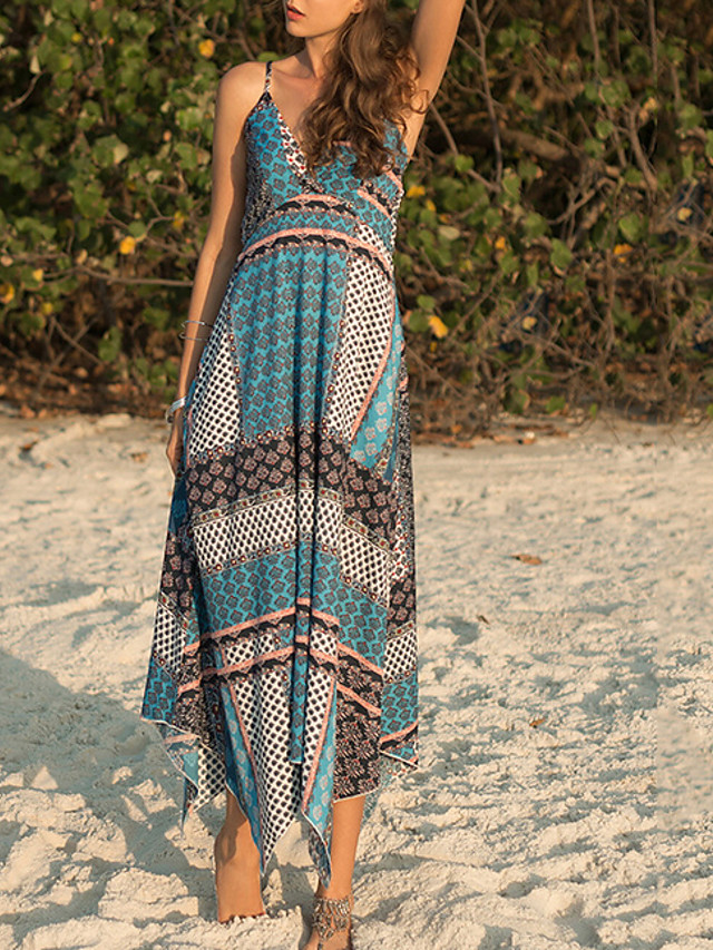Women's Sundress Midi Dress - Sleeveless Print Summer Casual Slim 2020 Blue M L XL XXL