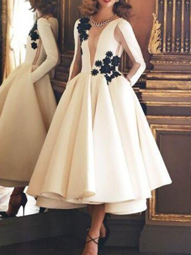 Ball Gown Luxurious Vintage Engagement Prom Dress Illusion Neck Long Sleeve Ankle Length Satin with Appliques 2020