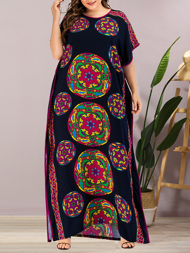 Women's Plus Size Maxi Shift Dress - Short Sleeves Geometric Split Summer Casual Elegant Daily Going out Loose 2020 Rainbow One-Size