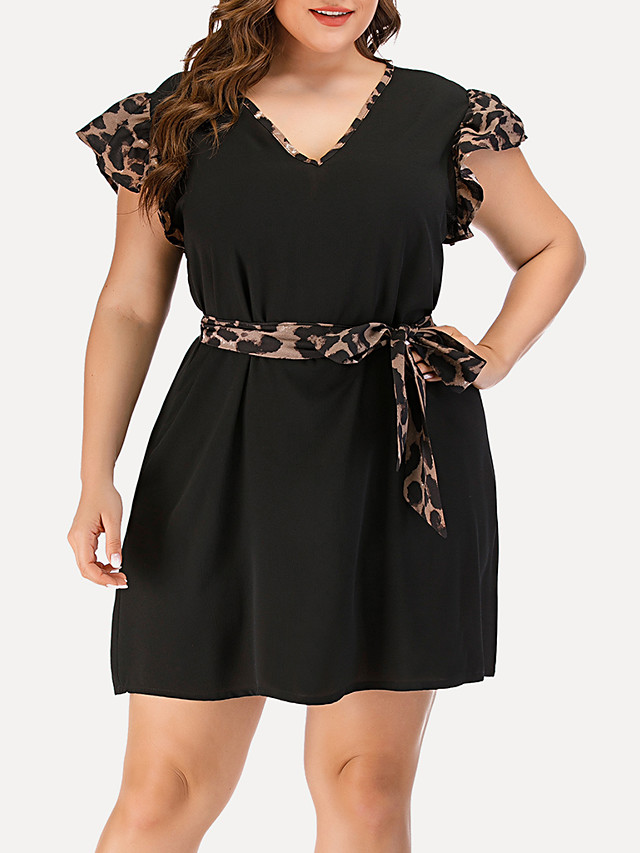Women's Plus Size A Line Dress - Short Sleeves Leopard Solid Color Patchwork Summer V Neck Casual Elegant Daily Going out 2020 Black Blushing Pink Navy Blue L XL XXL XXXL XXXXL