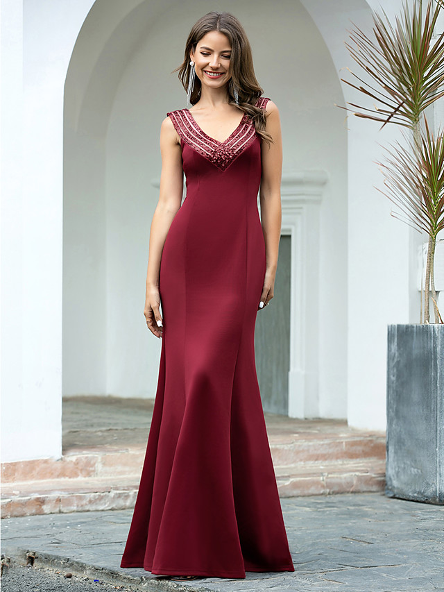 Mermaid / Trumpet Sexy Engagement Formal Evening Dress V Neck Sleeveless Floor Length Cotton with Sequin 2020