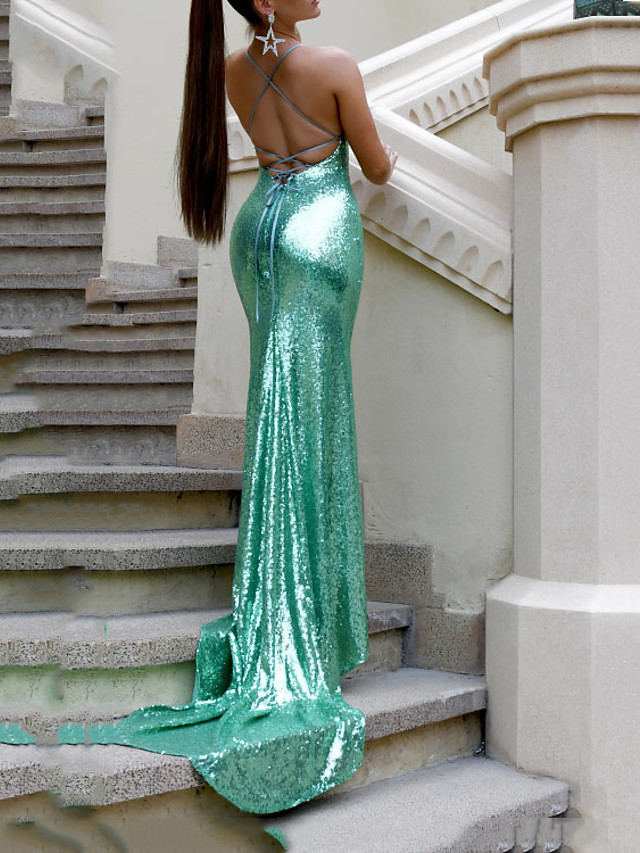 Mermaid / Trumpet Beautiful Back Sparkle Wedding Guest Formal Evening Dress V Neck Sleeveless Court Train Sequined with Sequin 2020