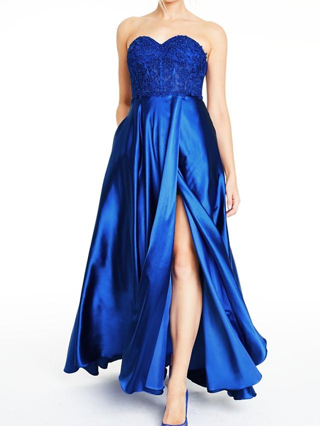 A-Line Elegant Party Wear Formal Evening Dress Sweetheart Neckline Sleeveless Floor Length Satin with Pleats Split Appliques 2020