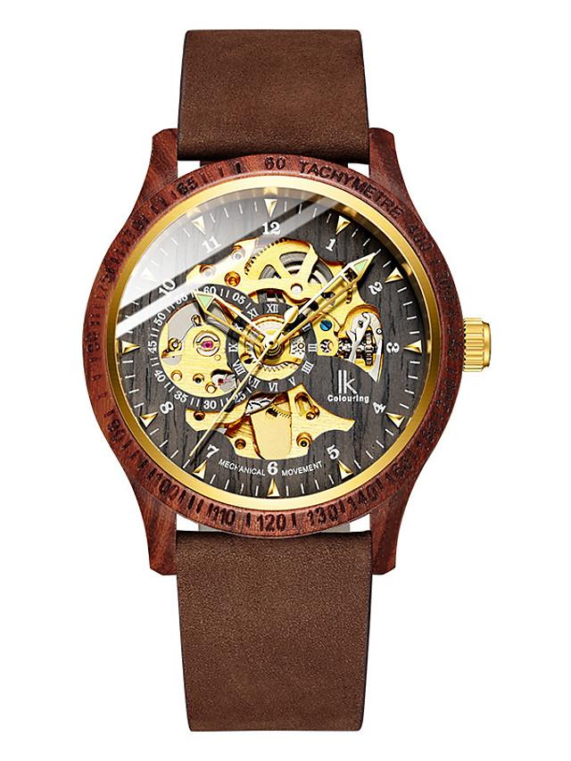 Mechanical Watch Automatic self-winding Fashion Water Resistant / Waterproof Genuine Leather Analog - Digital - Green Brown Gray