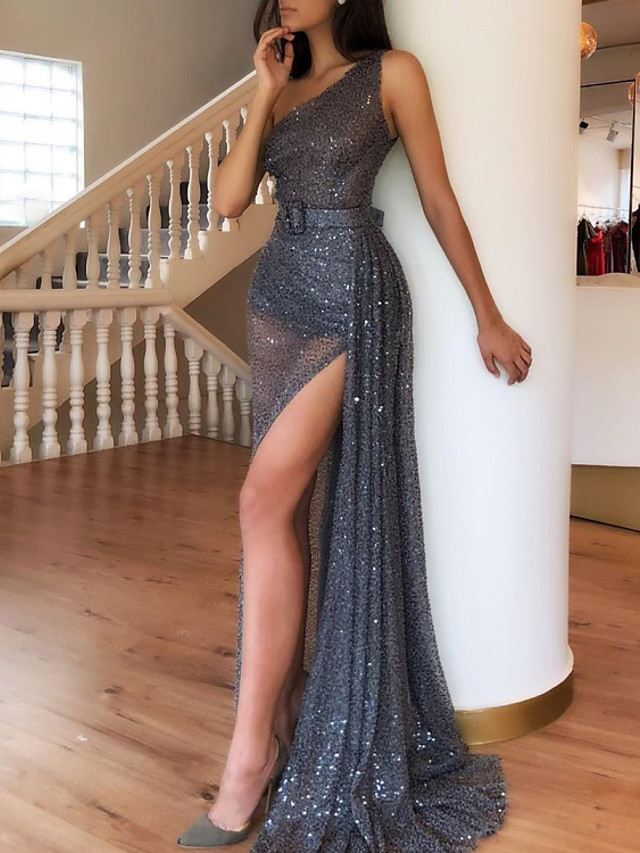 Sheath / Column Sparkle Party Wear Formal Evening Dress One Shoulder Sleeveless Sweep / Brush Train Sequined with Sequin Split 2020