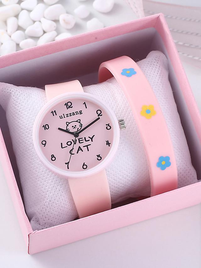 Women's Quartz Watches Quartz Animal Pattern Fashion Chronograph Silicone Pink Analog - Blushing Pink One Year Battery Life