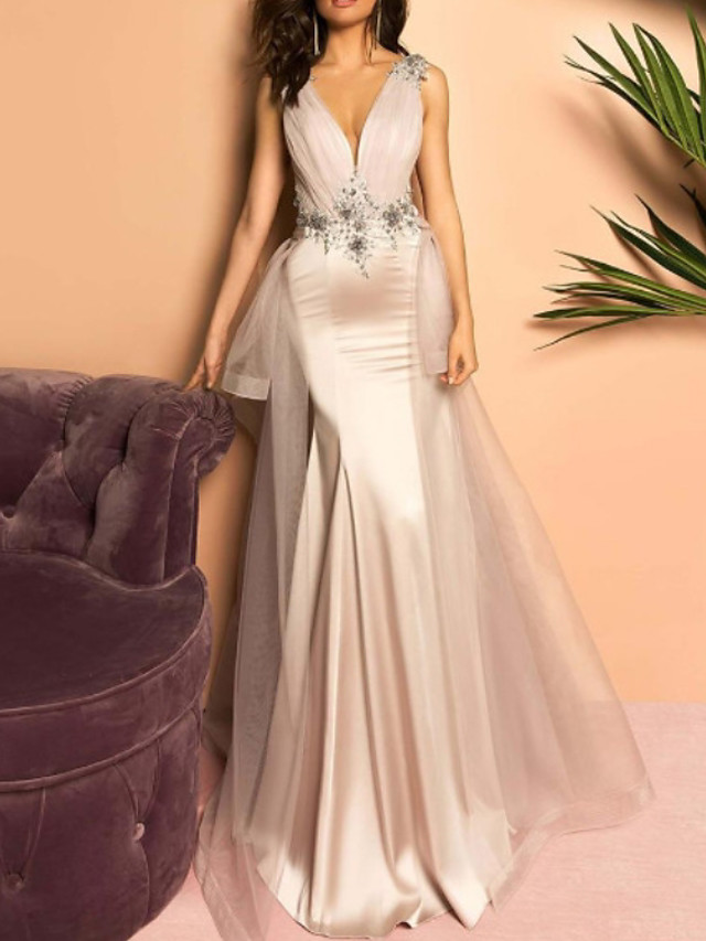 Mermaid / Trumpet Floral Sexy Engagement Formal Evening Dress V Neck Sleeveless Sweep / Brush Train Stretch Satin with Pleats Appliques 2020