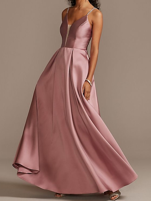 A-Line Elegant Pink Party Wear Prom Dress V Neck Sleeveless Floor Length Satin with Sleek Crystals 2020