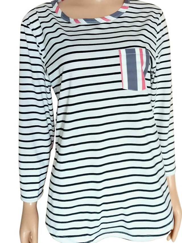 Women's Blouse Striped Patchwork Round Neck Tops Loose Basic Spring Fall Blue