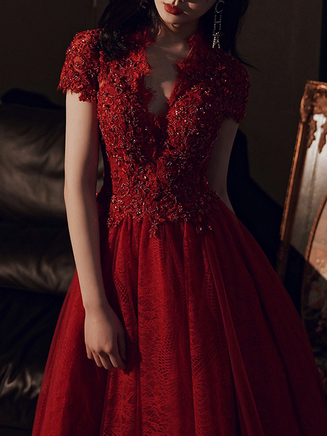 A-Line Luxurious Red Engagement Formal Evening Dress V Neck Short Sleeve Floor Length Lace Tulle with Sequin Lace Insert 2020