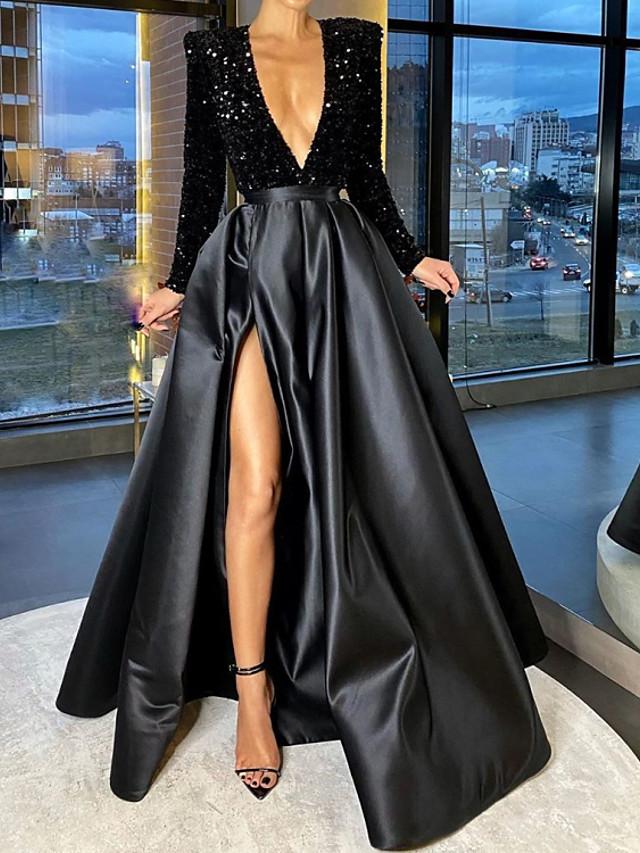 A-Line Sparkle Party Wear Formal Evening Dress V Neck Long Sleeve Floor Length Satin with Crystals Split 2020