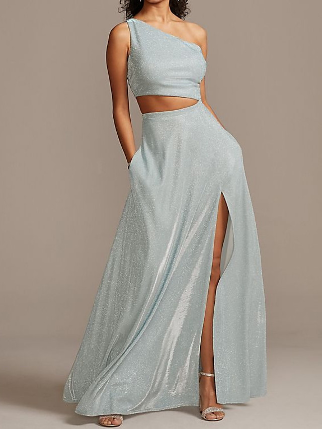 Two Piece Glittering Holiday Prom Dress One Shoulder Sleeveless Floor Length Satin with Sleek Split 2020