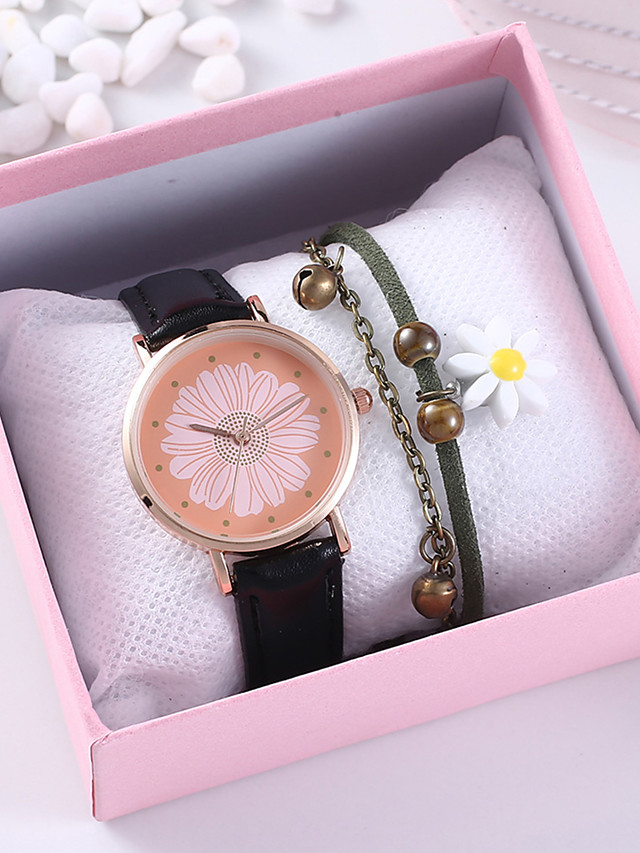 Women's Quartz Watches Quartz Floral Style Flower Chronograph PU Leather Black / Chocolate Analog - Black Brown One Year Battery Life