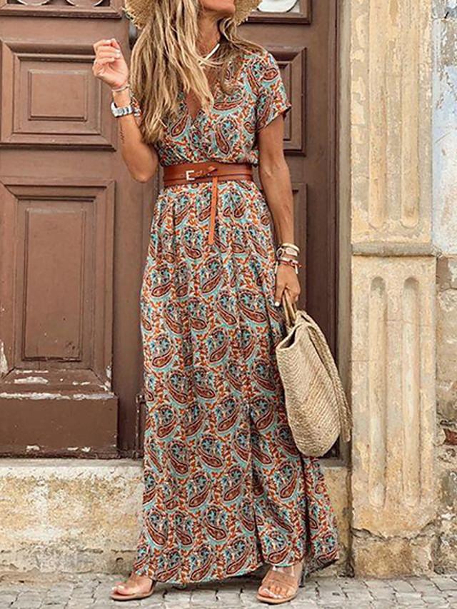 Women's Maxi long Dress Short Sleeve Paisley Print Summer Hot Casual vacation dresses 2021 Red Brown S M L XL XXL 3XL