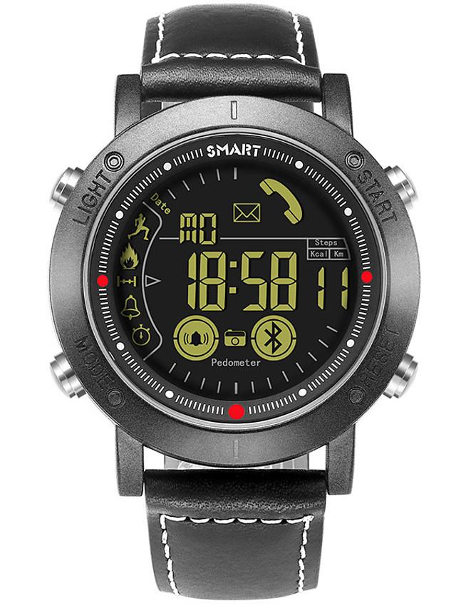 Unisex Smartwatch Digital Modern Style Stylish Fashion Water Resistant / Waterproof Genuine Leather Black Digital - Black Silver