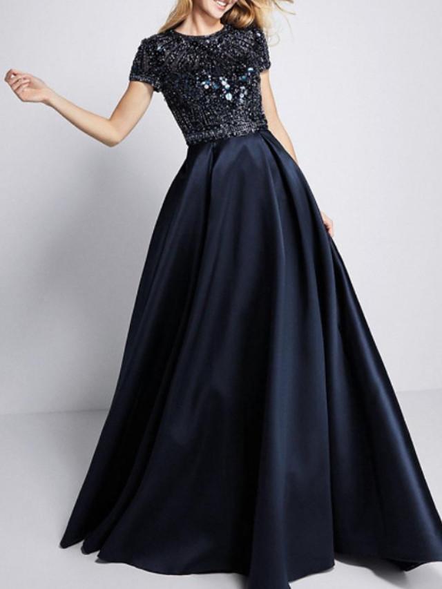 A-Line Elegant Sparkle Engagement Formal Evening Dress Jewel Neck Short Sleeve Sweep / Brush Train Satin with Sequin 2020