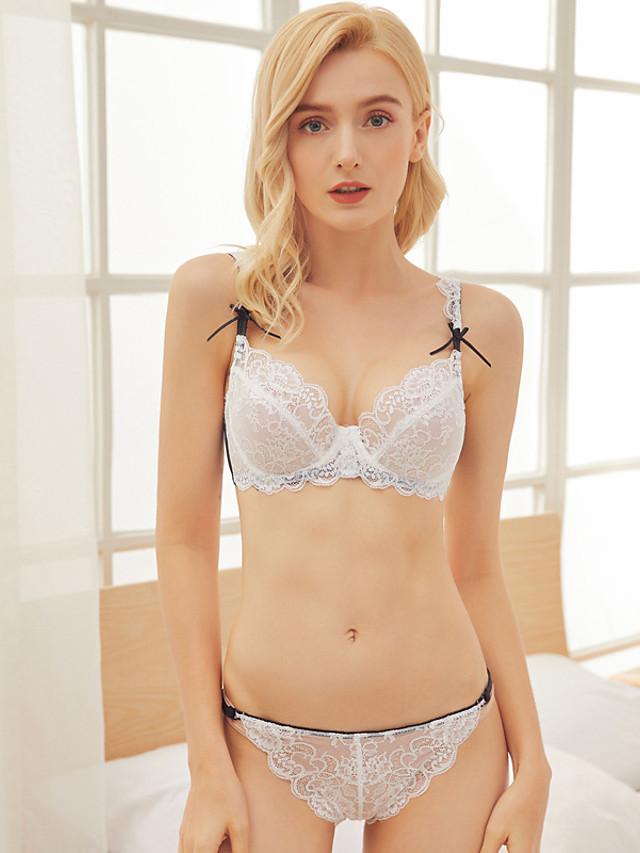 Women's Push-up Lace Bras Underwire Bra 3/4 Cup Bra & Panty Set Textured Fashion Light Brown White Black