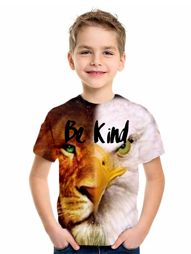 Kids Boys' Basic Animal Print Short Sleeve Tee Yellow
