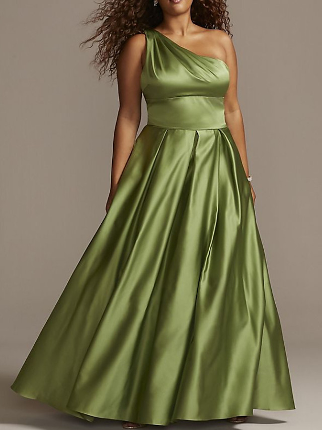 A-Line Beautiful Back Plus Size Party Wear Formal Evening Dress One Shoulder Sleeveless Floor Length Satin with Pleats 2020