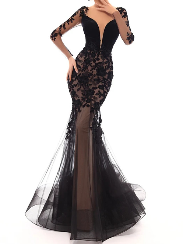 Mermaid / Trumpet Floral Sexy Engagement Formal Evening Dress V Neck Long Sleeve Sweep / Brush Train Tulle with Appliques 2020 / Illusion Sleeve