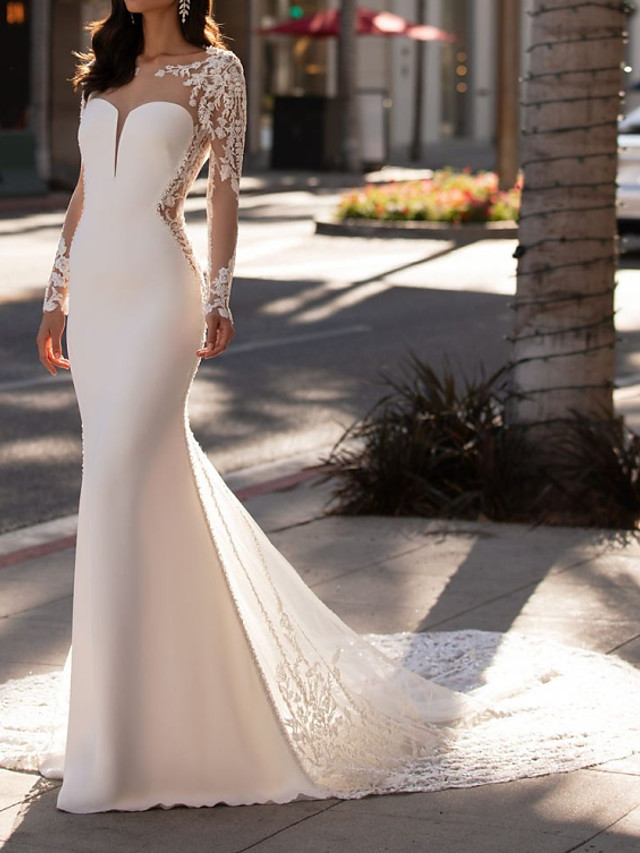 Mermaid / Trumpet Wedding Dresses Jewel Neck Court Train Lace Stretch Satin Sleeveless Formal Illusion Sleeve with Appliques 2020