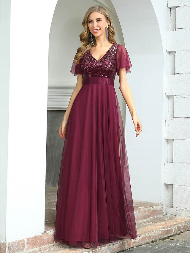 A-Line Elegant Empire Wedding Guest Formal Evening Dress V Neck Short Sleeve Floor Length Tulle with Sequin 2020