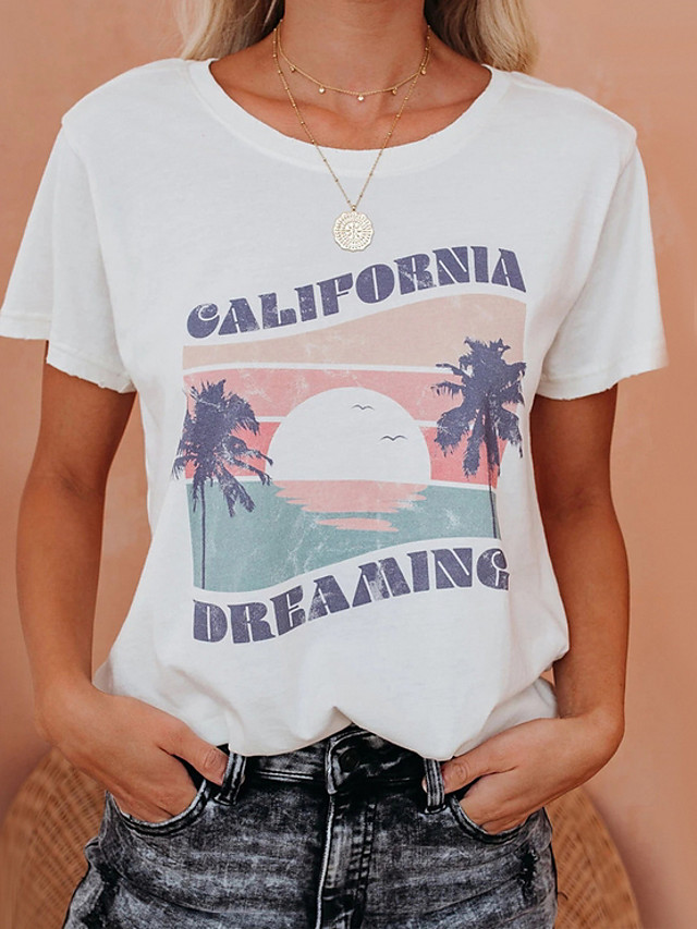 Women's T-shirt Graphic Letter Round Neck Tops Cotton Basic Top White