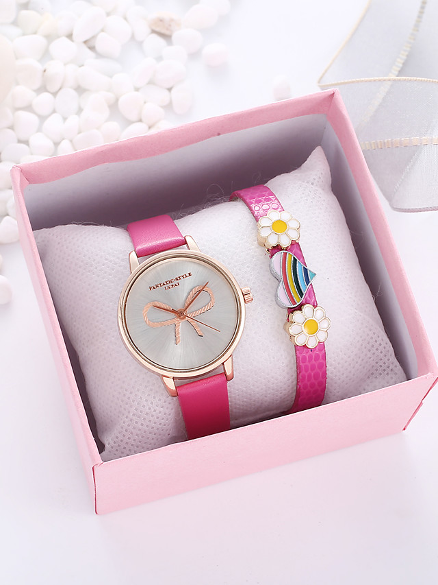 Women's Quartz Watches Quartz Bow Stylish New Arrival Chronograph PU Leather Analog - Blue Rose Red
