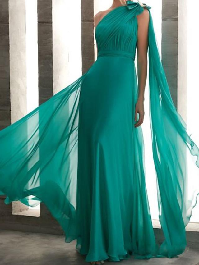 Sheath / Column Elegant Minimalist Engagement Formal Evening Dress One Shoulder Sleeveless Floor Length Chiffon with Bow(s) Pleats 2020