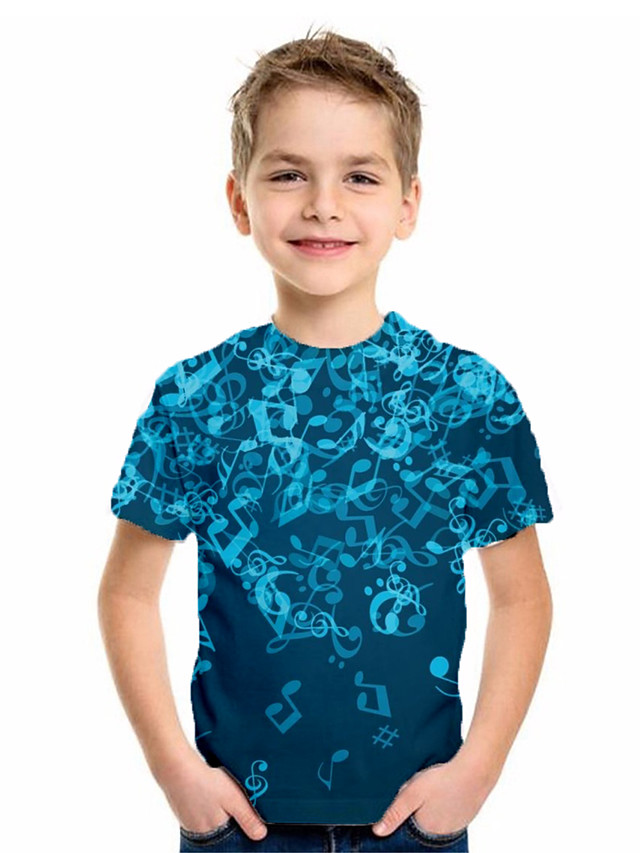Kids Boys' Basic Geometric Print Short Sleeve Tee Blue