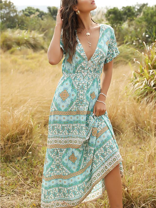 Γυναικεία Φόρεμα ριχτό από τη μέση και κάτω Μακρύ φόρεμα - Κοντομάνικο Στάμπα Στάμπα Καλοκαίρι Λαιμόκοψη V Μπόχο 2020 Θαλασσί Τ M L XL