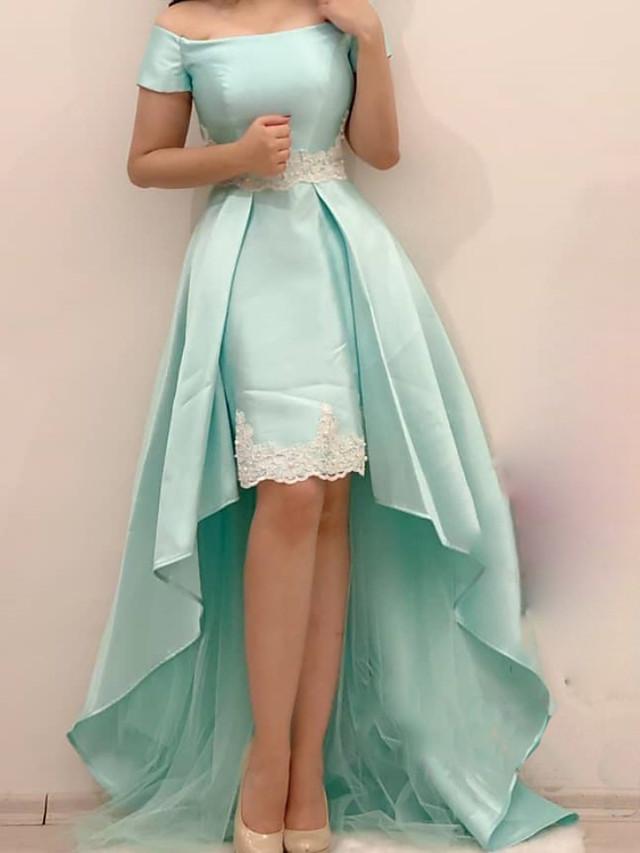 A-Line Elegant Minimalist Wedding Guest Prom Dress Off Shoulder Short Sleeve Asymmetrical Satin with Pleats Appliques 2020