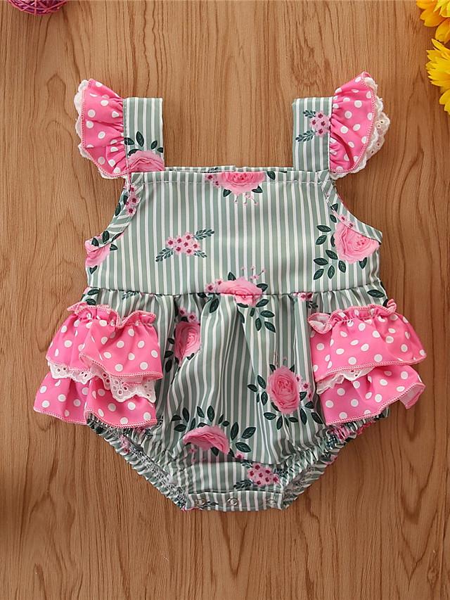 Baby Girls' Basic Print Sleeveless Romper Green