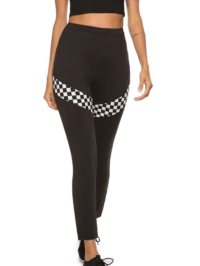 Women's Basic Legging - Print, Sporty Mid Waist Black S M L / Slim