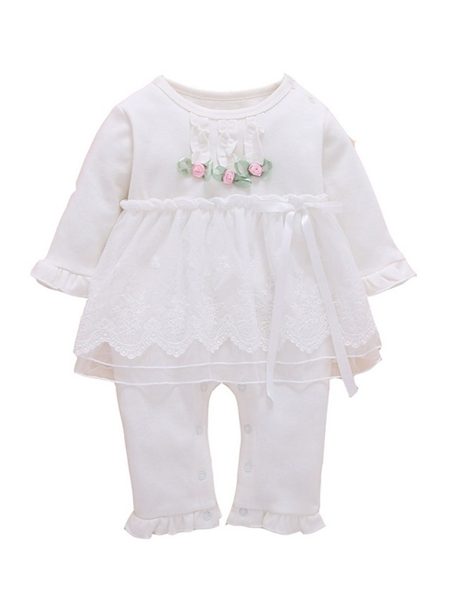 Baby Girls' Basic Floral Long Sleeve Romper White