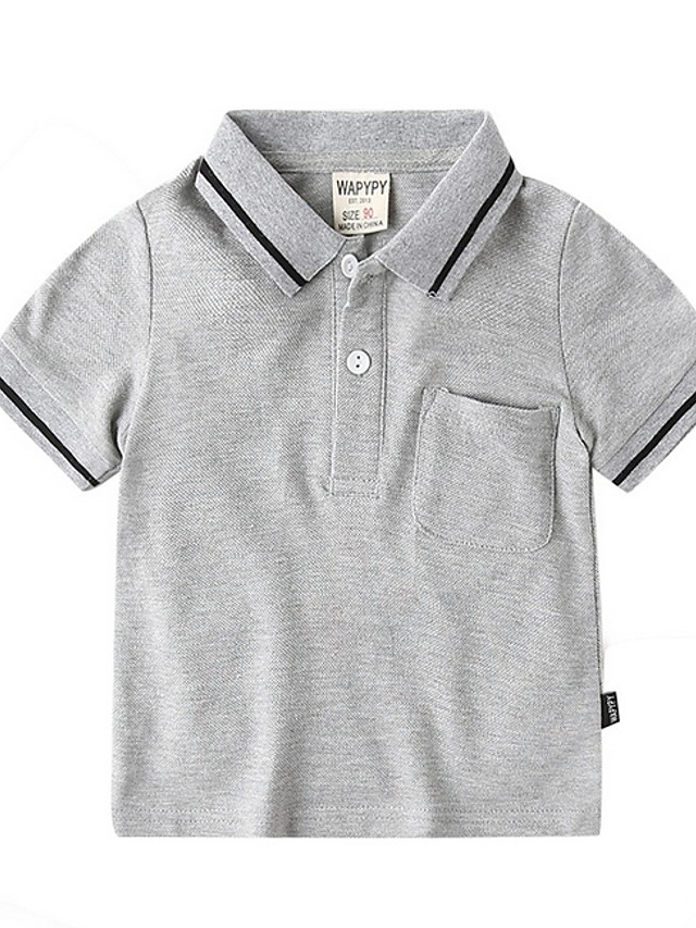 Kids Boys' Street chic Solid Colored Short Sleeve Blouse White