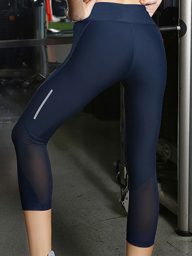 Women's Yoga Basic Legging - Solid Colored Mid Waist Navy Blue XXS XS S