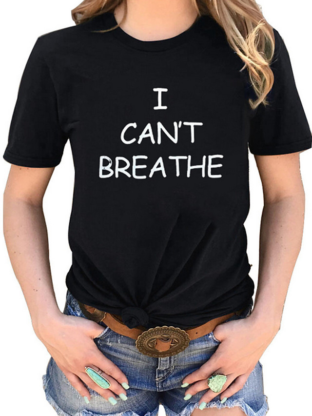 Women's T-shirt Letter Round Neck Tops Basic Top Black