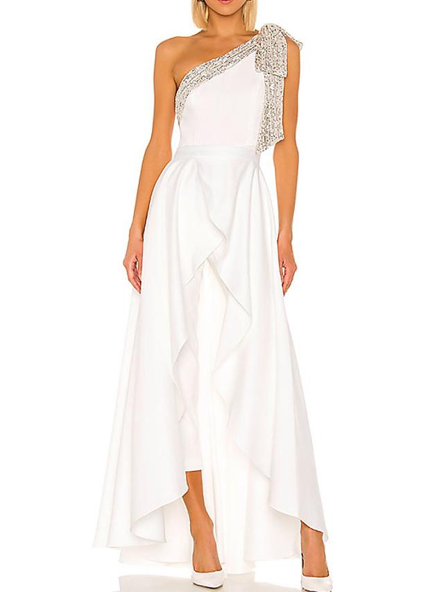 Jumpsuits Elegant Minimalist Engagement Prom Dress One Shoulder Sleeveless Floor Length Stretch Satin with Pleats Ruffles 2020