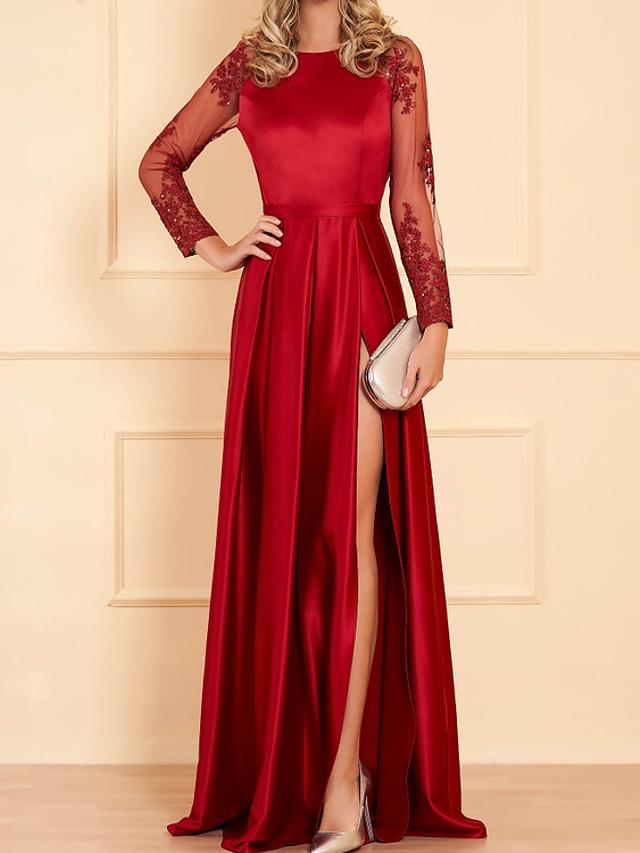 Sheath / Column Minimalist Sexy Engagement Formal Evening Dress Jewel Neck Long Sleeve Floor Length Satin with Pleats Split Embroidery 2020 / Illusion Sleeve