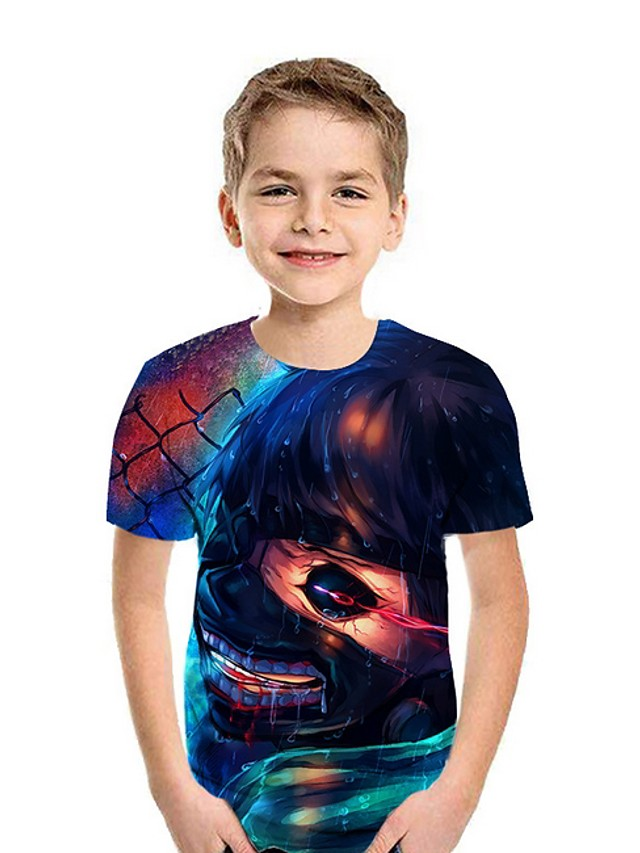 Kids Boys' Street chic 3D Short Sleeve Tee Blue