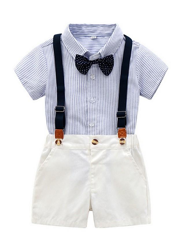 Kids Boys' Basic Striped Short Sleeve Clothing Set Light Blue