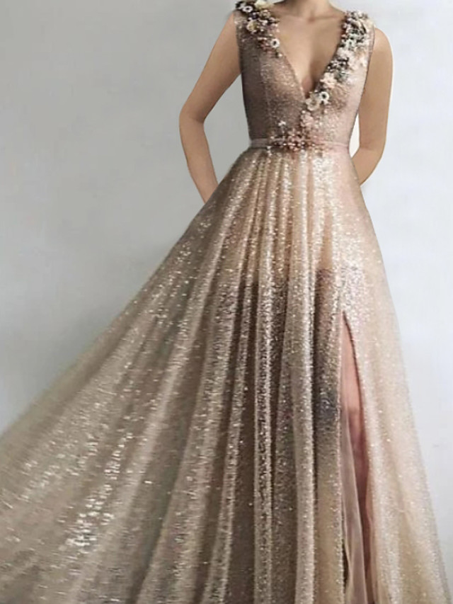 A-Line Glittering Luxurious Engagement Formal Evening Dress V Neck Sleeveless Floor Length Sequined with Sequin Split 2020