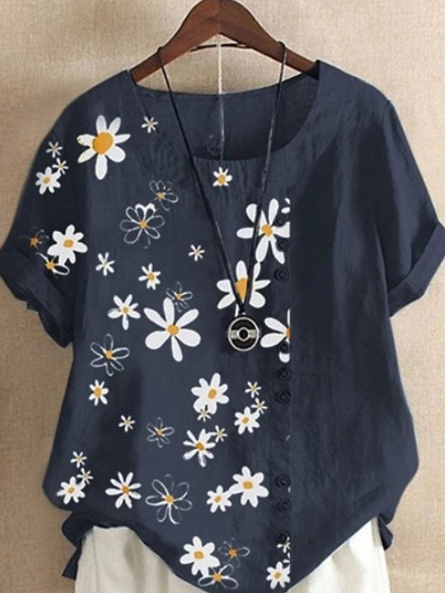 Women's Blouse Graphic Round Neck Tops Loose Cotton Summer Blue Yellow Light Blue