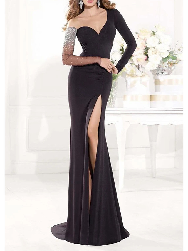 Mermaid / Trumpet Elegant Sexy Engagement Formal Evening Dress Illusion Neck Long Sleeve Sweep / Brush Train Spandex with Beading Split 2020