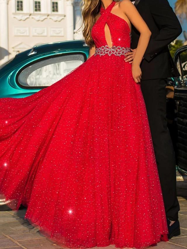 A-Line Glittering Beautiful Back Engagement Formal Evening Dress Halter Neck Sleeveless Floor Length Chiffon with Sash / Ribbon Beading 2020